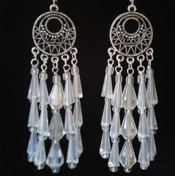 OOAK Earrings Silver Raw Crystal Quartz Dangle Chandelier Earrings Silver